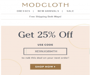Modcloth email screenshot