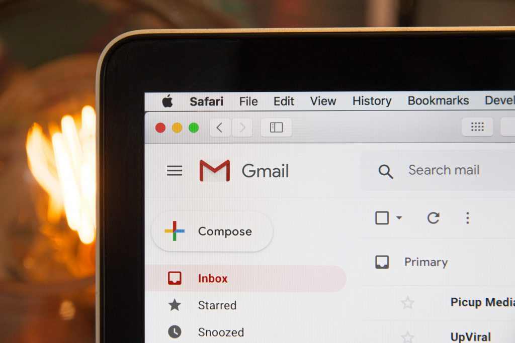 Gmail on an email screen